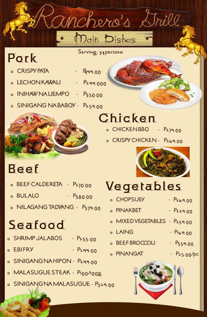 ranchero's grill menu 2